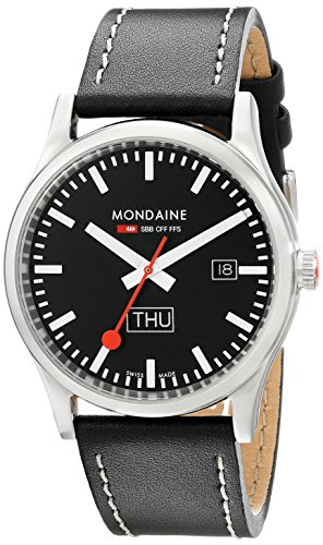 Mondaine Official Swiss Railways Watch Men's Watch, Black Dial with Date, Black Leather Strap with White Seams