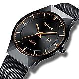 Homme simple Design montres à quartz analogique Argent pour homme en maille Sangle de luxe Date Calendrier Ultra fin montre bracelet en acier inoxydable Bande étanche Business Casual montres pour homm