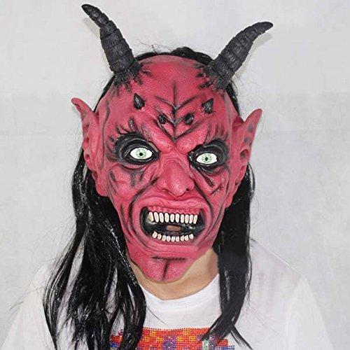 Latex Maske Satan Teufel Narr 's Day Halloween Ballow Show Red Teufel Maske Horror Ghost Maske,Zahl,Alle (Zorro Kostüm Hunde Für)