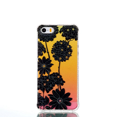 Pour iPhone 5 5S 5G / iPhone SE Case Cover, Ecoway TPU Soft Silicone Golden background personalized pattern Housse en silicone Housse de protection Housse pour téléphone portable pour iPhone 5 5S 5G / noir Daisy