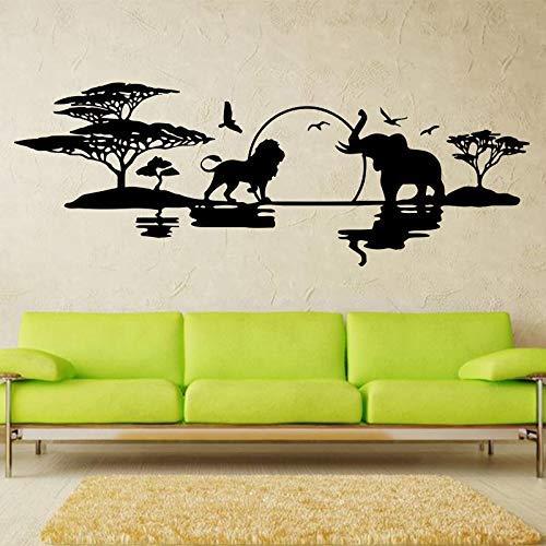 Diseño De Arte Horizonte De La Sabana Decoración Del Hogar Vinilo Elefantes...