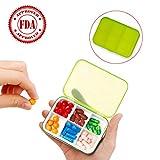 Zoiibuy Portapillole Giornaliero Porta Pillole Vitamina Pillola Contenitore Pillole Organizzatore con 6 Scomparti per Borsa o Tasca per il Viaggio,Campeggio e Lavoro (Verde)