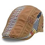 UPhitnis Baumwolle Flatcap | Schiebermütze | Schirmmütze Einstellbar Schick - Streifen, Camo, Kariert Spleißen