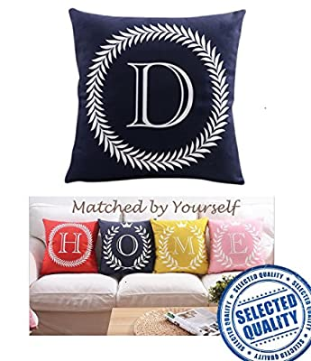 "ZUODU Alphabet Series 45x45cm 26 Letters Crown Printing Peach Skin-Like Decorative Pillow Cover Cushion Cover 18x18"" Free Combination produced by Zuodu Home - quick delivery from UK."