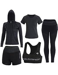 79e560426b Sokaly Juego de 5 Ropa Gimnasia Yoga Gimnasia Correr Fitness Deportiva Mujer  Incluye Manga Larga y