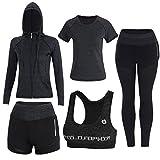 Sokaly 5 Pezzi Yoga Fitness Palestra Running Jogging Completi Sportivi Abbigliamento da Donna (S, Nero)