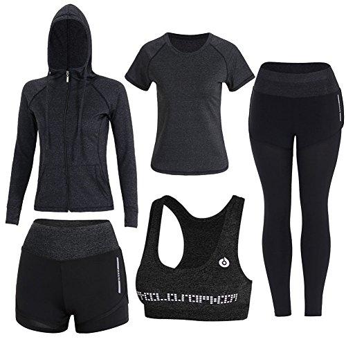 Sokaly Juego de 5 Ropa Gimnasia Yoga Gimnasia Correr Fitness Deportiva Mujer Incluye Manga Larga y Corta, Pantalón, Sujetador, Suave Transpirable Cómodo (Negro, M)
