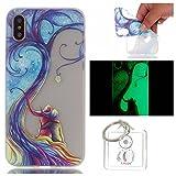 Hülle Leuchtende iPhone X Silikon Etui Handy Hülle Weiche Transparente Luminous TPU Back Case Tasche Schale Leuchten In Der Nacht Für Apple iPhone X + Schlüsselanhänger (P) (2)