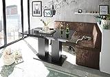 Mystylewood Eckbank Olga Vintage Braun mit Säulentisch Schwarz Küchenbank Sitzecke dick gepolstert Kunstleder pflegeleicht stabiles Holzgestell 196x142R