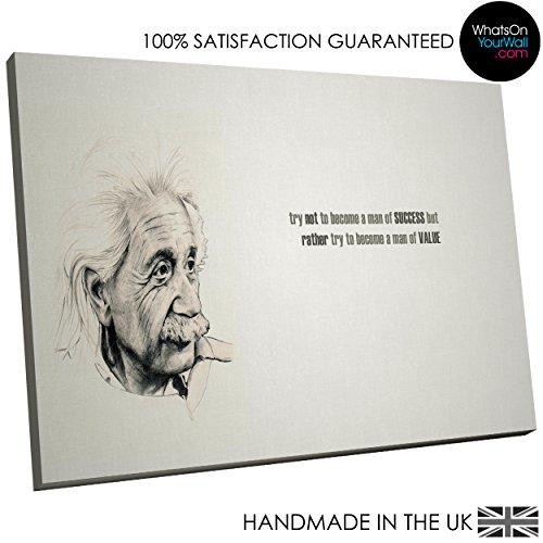 Große, Gerahmte Kunstdruck auf Leinwand–modern Art Wand, HD Qualität von Bild–100% garantiert–Schwarz Weiß Albert Einstein–Living & Schlafzimmer Home Décor mit Einfache Aufhängen Guide–AB234–woyw, canvas, schwarz / weiß, L - 90cm x 60cm (Einstein-bild)