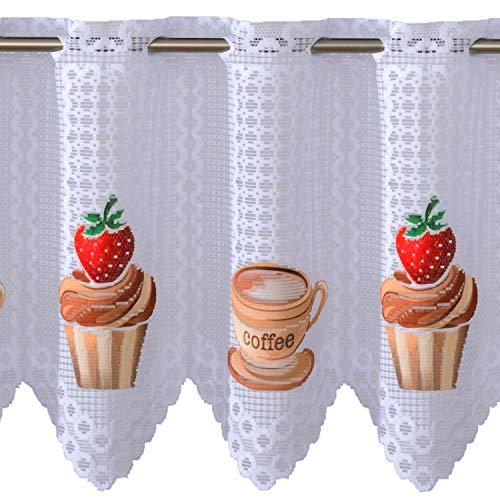 Promag tendina, kurzstore freno, tenda, muffin, cup cakes, coffee, bianco, jacquard, bianco, 50x95 cm