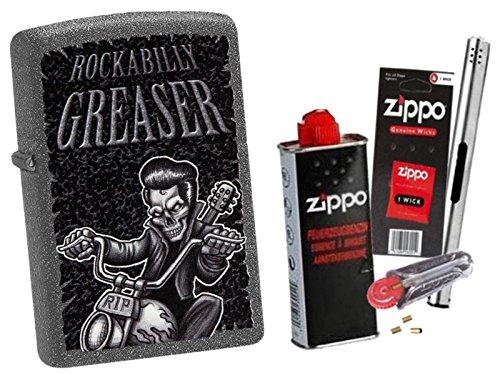 Zippo Rockabilly Greaser mit Zippo Zubehör Auswahl und L.B Chrome Stabfeuerzeug (mit Zubehör A)