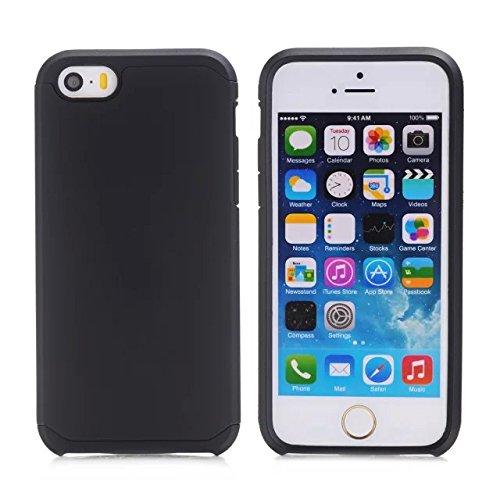 iPhone 5S Cas, iPhone 5 Cas, Lantier cool Série [Slim mince Armure] Dual Layer hybride de protection antichoc Case pour Apple iPhone 5 / 5S Noir-Violet Black-Black