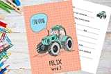 8 Stück Einladungskarten Kindergeburtstag mit Traktor - personalisiert