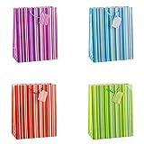 TSI 85315 Lot de 12sacs cadeau, motif: lignes colorées à 4coleurs, format 32 x 26 x 13,5 cm
