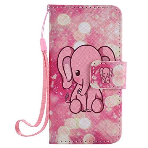 iPhone 7 Hülle,iPhone 7 Lederhülle Tasche Flip Case,Ekakashop Bunt Rosafarbener Elefant Muster PU Leder Brieftasche Wallet Case Schutzhülle Klapptasche Etui Bookstyle Flio Schale Weichen Silikon Buchs Rosafarbener Elefant