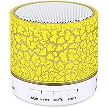 Hipipooo mini LED wireless Bluetooth speaker Cracked strato USB/TF/FM musica Sound box subwoofer con luce colorata (giallo)