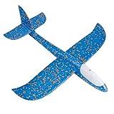 YeahiBaby Segelflugzeug Gleitflugzeuge Styroporflieger mit Lichter für Kinder Jungen Mädchen Spielzeug (Blau)