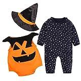 HKFV- Costume di Halloween con tutina stile zucca, per neonato, ideale per maschietti, Black 70cm, 70-100cm