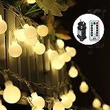 Guirlande lumineuse,Tomshine 13M 100 ampoules, 8 Modes avec télécommande, étanche IP44, Luminosité réglable, 3.6W LED Petites Boules(Blanc Chaud)