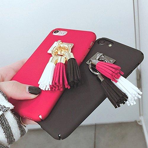 Phone case & Hülle Für iPhone 6 Plus / 6s Plus, matt harten schützenden rückseitigen Abdeckungs-Fall mit drei Farben-Quasten Pandent ( Color : Black ) Black
