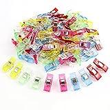 Pack 100 Stück Wonder Clips Nähklammern Stoffklammern Nähzubehör Wonderclips Verbindlich Kunststoff Clips Schellen sortierte Farben