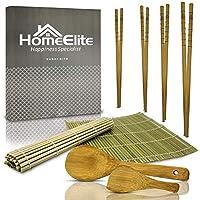 HomeElite | Kit para Hacer Sushi | Palillos, Cucharas y Esterillas de Bambú Natural de Excelente Calidad | Sushis y Makis Fáciles | Kit de Preparación de Sushi | Utensilios para Sushi