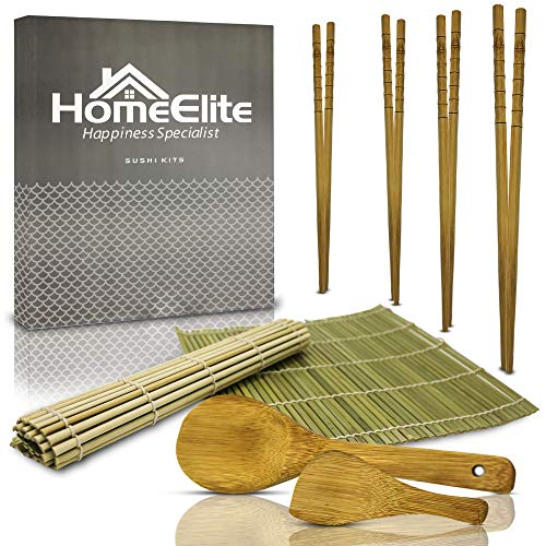 Homeelite | kit per sushi  | bacchette, cucchiai e tovagliette naturali di alta qualità | sushi e makis facili | kit di preparazione sushi | macchine per sushi