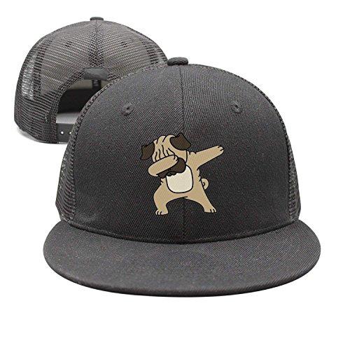 Men&Women Hip Hop Dabbing Pug Funny Adjustable Vintage Washed Denim Cotton Dad Hat Baseball Caps Natural