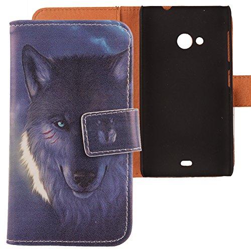 Lankashi PU Flip Leder Tasche Hülle Case Cover Schutz Handy Etui Skin Für Nokia Microsoft Lumia 535 Wolf Design