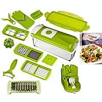 Yeni Genius Nicer Dicer Plus sebze kesici Yeşil + bıçak bileyici 14-parça