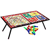 Goldiluxe Wooden Ludo, Snakes and Ladders Printed Foldable Study Table (Multicolour)