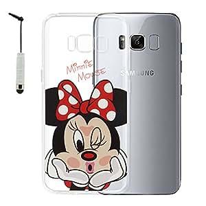 """VComp-Shop® Transparente Silikon TPU Handy Schutzhülle mit Motiv Cartoon Disney Fröhliche Weihnachten! für Samsung Galaxy S8 5.8"""" + Mini Eingabestift + GRATIS Displayschutzfolie - Minnie Mouse"""