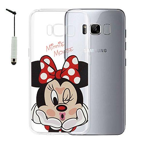 """VComp-Shop® Transparente Silikon TPU Handy Schutzhülle mit Motiv Cartoon Disney Fröhliche Weihnachten! für Samsung Galaxy S8 5.8\"""" + Mini Eingabestift + GRATIS Displayschutzfolie - Minnie Mouse"""