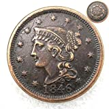 FKaiYin 1846 Antike Liberty One Cent Replik Old Coin American Lucky Old Coin - US Old Coins - Unzirulated Hobo Nickel USA Morgan Dollar Münze Future Experience -
