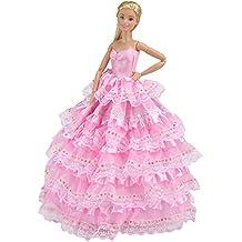 E-TING principessa sposa abito vestito con Barbie vestiti Cenerentola sera Outfit Party impostato per Disney Cenerentola ballo reale e la bella addormentata (1pc Rosa Principessa Abito)(Bambola Non è Incluso)
