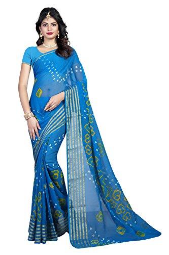 SVB Sarees Chiffon Saree With Blouse Piece (SVB_CB_06_Light Blue_Free Size)