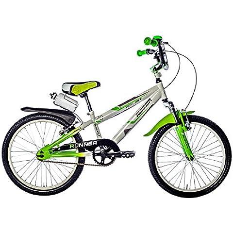 F.lli Schiano Runner Bicicletta Bambino Forcella Ammortizzata, Bianco/Verde, 20