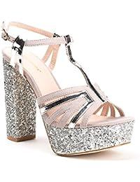 Ideal Shoes - Sandales bi-matière à talon carré pailleté Therese