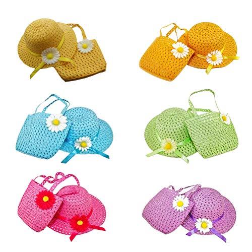 blume Kinder Strohhut und Strohsack Kleine Mädchen Tea Party Hüte Band Dekoriert Strand Sonnenhut für Baby Kinder Kleinkind ()