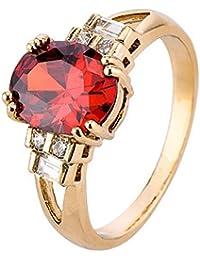 La Vogue Bague Solitaire Sertie Zircon De Cristal Rubis Faux Fiançailles Alliance Mariage Femme Cadeau 9#