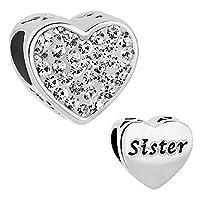 April Birthstone Sister Heart Charms Bead fit Pandora Charm Bracelet