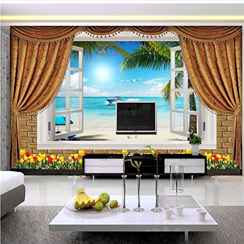 Apoart 3D Wandtapete FreskotapetenAußerhalb DesMeeres Bild 3DStereo Hintergrund Wand WohnzimmerPapel De Parede Wandbild300Cmx210Cm (Außerhalb Palmen)
