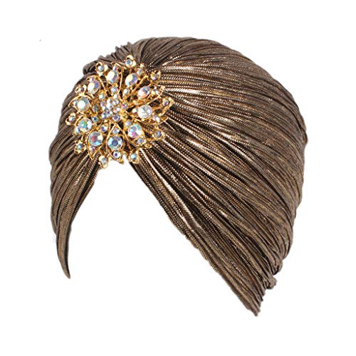 ess Indian Plissee Hut Turban mit Crystal Flower Dark Gold ()