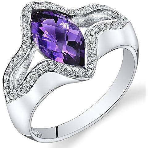 Peora 14K Oro Bianco Marchese Ametista Diamante anello (1.85 cttw)