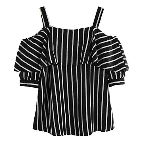 JURTEE Sommer Damen Streifen Bluse,Off Shoulder Trägerlos Rüschen T-Shirt Streifen Druck Schulterfrei Oberteile - Rock Star Kostüm Für Paare