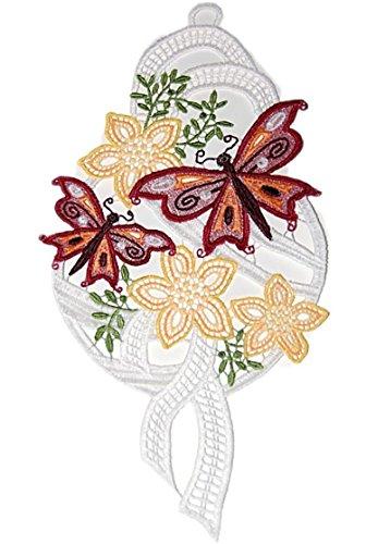 Bezauberndes Fensterbild PLAUENER SPITZE ® 16x32 cm + Saugnapf Schmetterling Bordeaux Blumenwiese Spitzenbild SOMMER (Schmetterling Bordeaux)