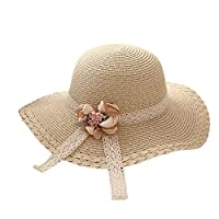 Monbedos Kids Girl Straw Sun Hats Lace Flowers Straw Hat Cap Beach Hat Wide Brim Adjustable Packable Sun Cap