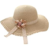 Wdoit - Elegante cappello in paglia estivo a tesa larga con fiocco a84977d6688c