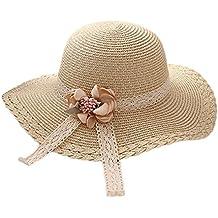 Monbedos Sombrero de paja para niñas con diseño de flores de encaje cedae0be3d1